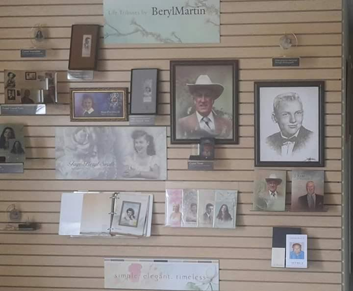 The StoryClip Personalized Products Display At our Funeral Home. We offer personalized and custom memorial folders, pictures, casket panels, and crystal products.