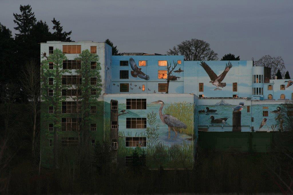 Hand painted mural at dusk.