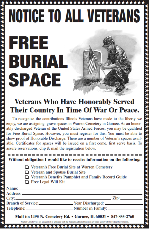 Free Burial Space For Veterans