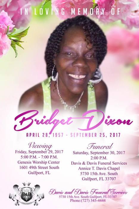 Obituary for Bridget Dixon