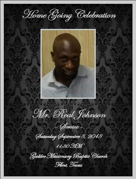 Obituary for Real Johnson (Send flowers) | Jerome D  Lacy's
