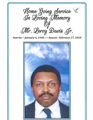 Obituary for Leroy Davis Jr (Send flowers) | Marion Funeral Home