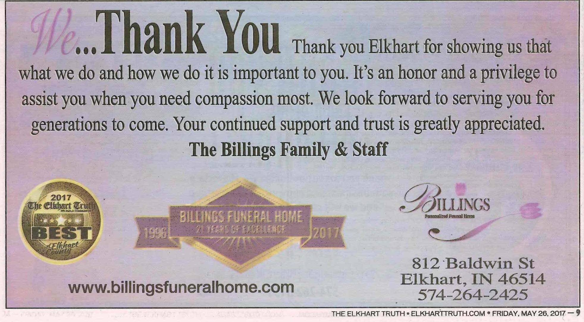 Billings Funeral Home Baldwin Street Elkhart In