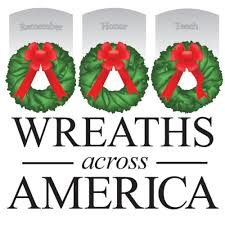 "image of 3 wreaths with bold lettering that says ""wreaths accross america"""
