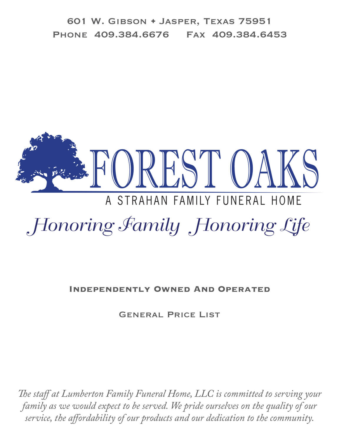 General Price List | Forest Oaks Funeral Home | Jasper TX funeral