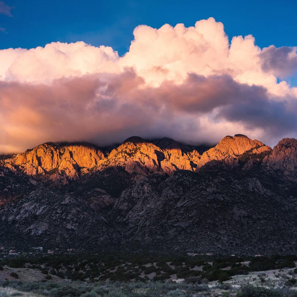 mountains during sunset