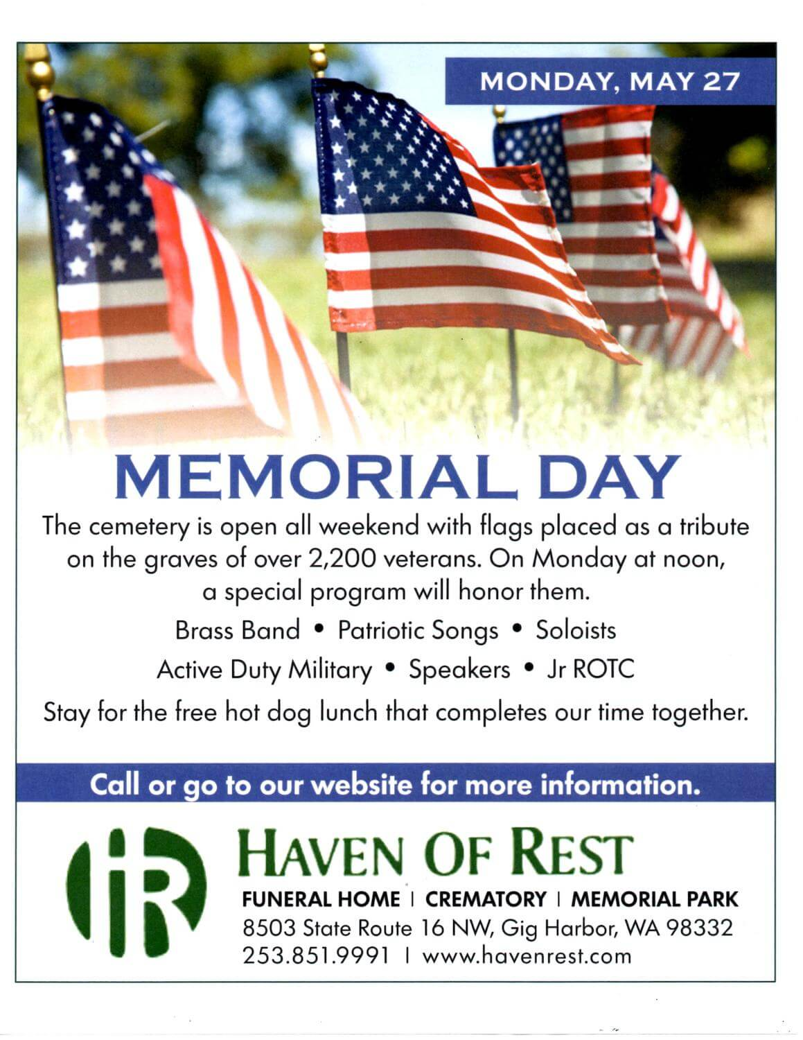 Memorial Day Haven Of Rest Gig Harbor Gig Harbor Wa Funeral
