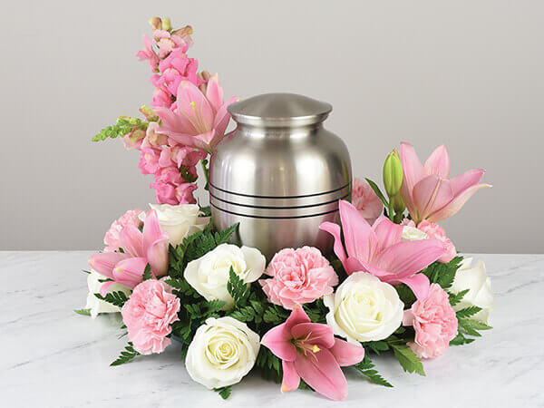 Urn Wreath Pink White