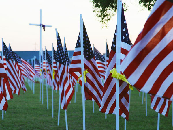 American Flag for our Veterans in Cemetery