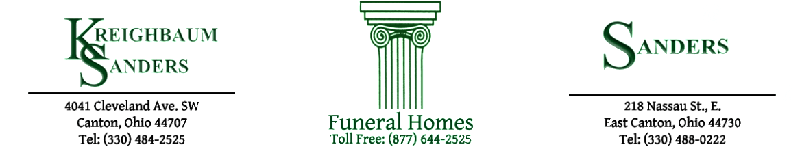 Sanders Funeral Homes | Canton OH and East Canton OH funeral