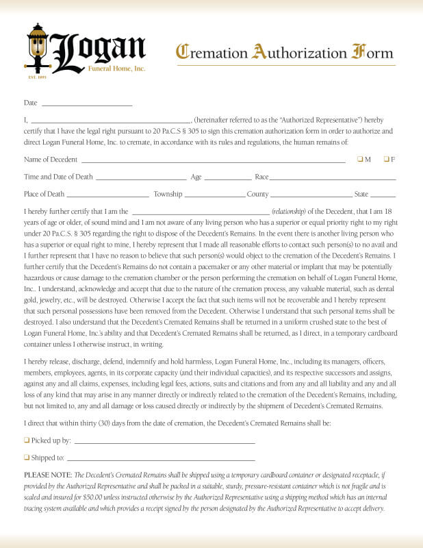 Cremation Authorization Form