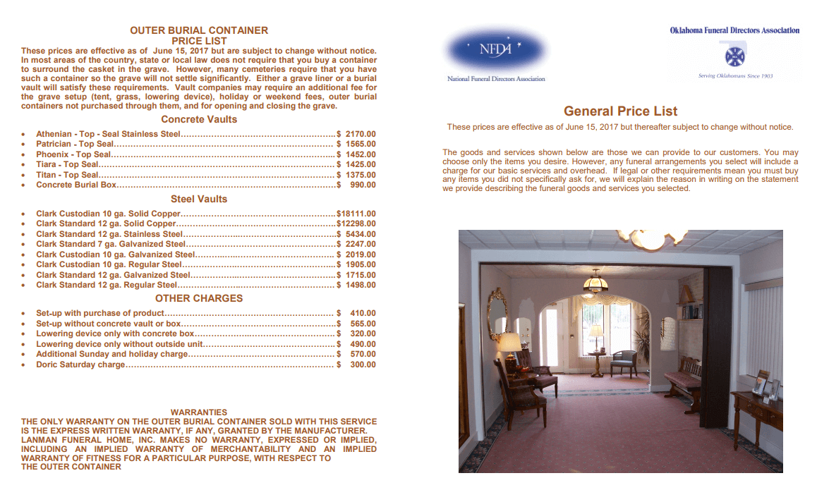 General Price List | Lanman Funeral Home, Inc  | Helena OK