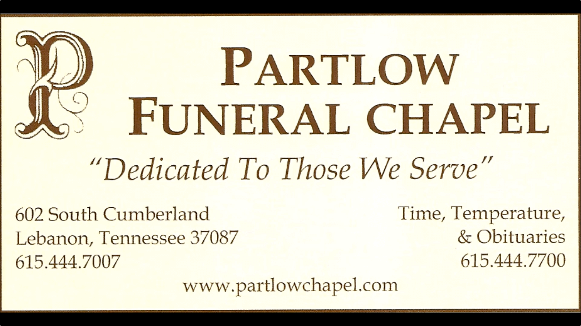 Pre Arrangements Partlow Funeral Chapel Lebanon Tn