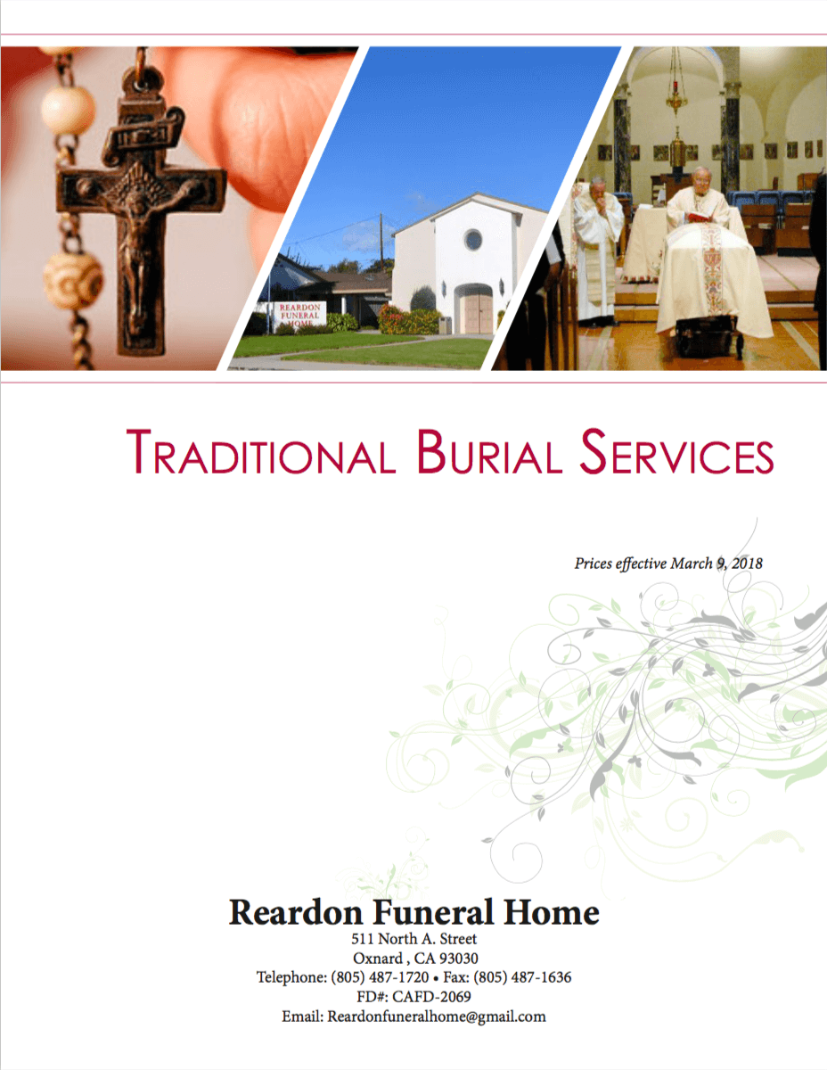 General Price List | Reardon Funeral Home | Oxnard CA funeral home