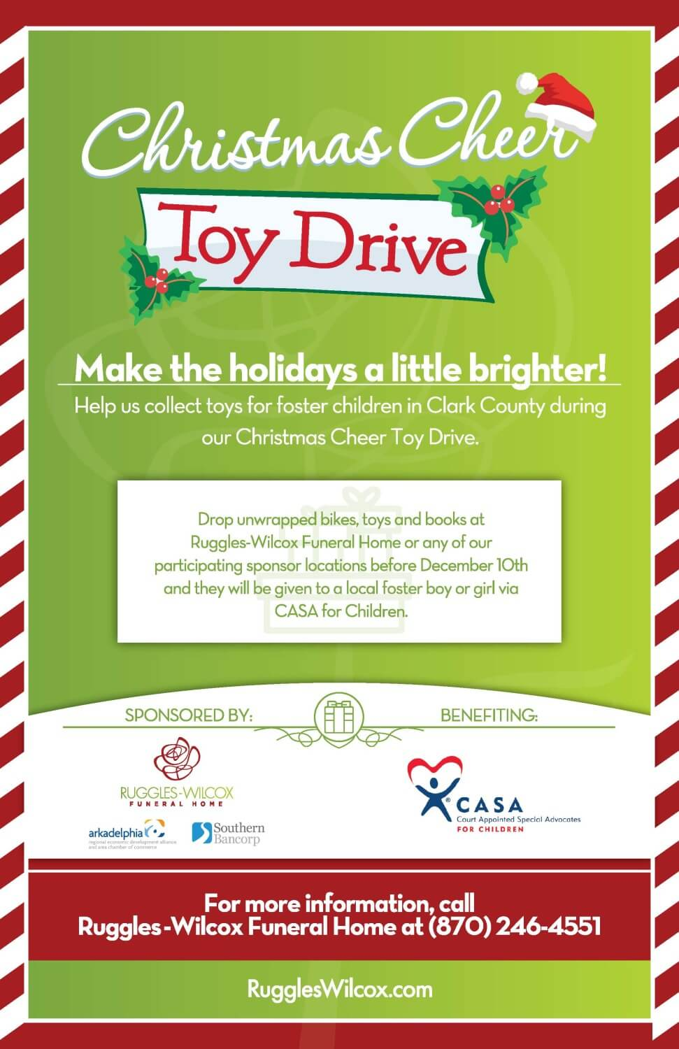Christmas Cheer Toy Drive   Ruggles-Wilcox Funeral Home