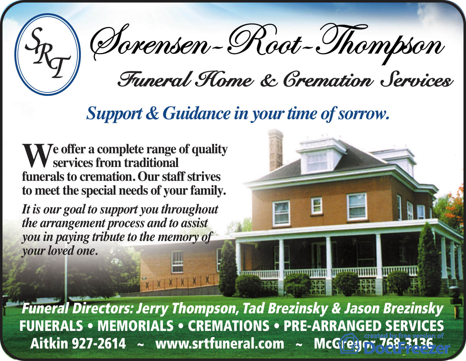 FAQ | Sorensen-Root-Thompson Funeral Home | Aitkin MN