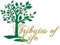 "company logo with ""tributes of life"" text"