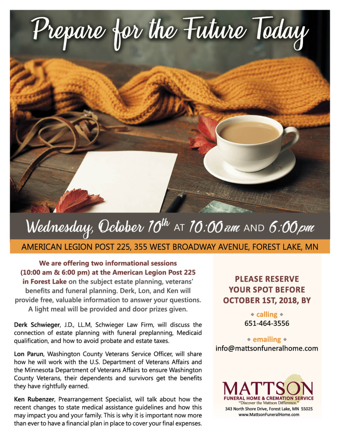 Our Community Events Mattson Funeral Cremation Service
