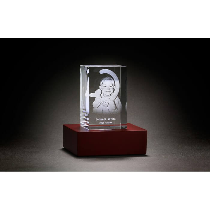 image of a personalized 3-D Crystal Tower available at Vilonia Funeral Home