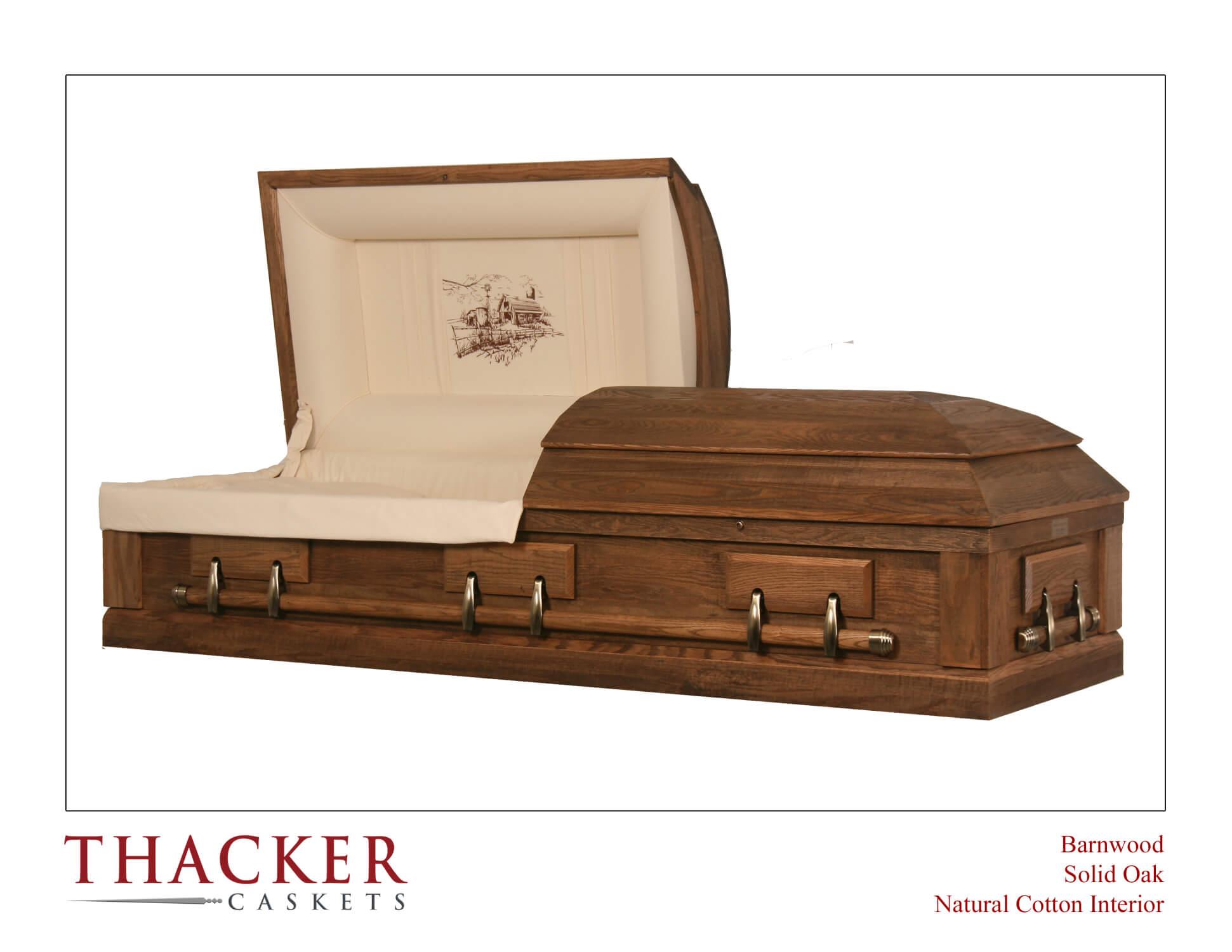 Barnwood Syle Solid Oak Casket - $2,395.00
