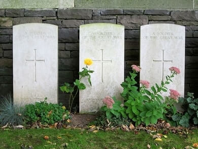 Military graves with military headstones