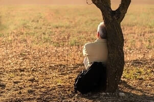 overwhelmed man sitting at a tree