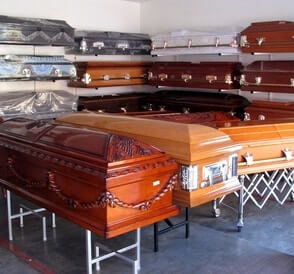Various types of casket on display