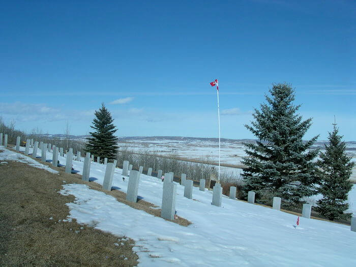 Foothills cemetery headstones and flag