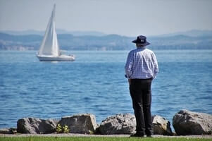 widowed man in a park