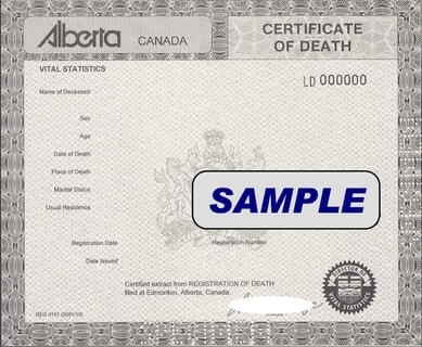 Example of an Alberta Death Certificate