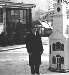 Mortimer N. Peck out side the funeral home Christmas 1938.
