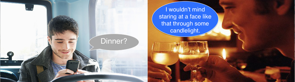 gay, text, dinner, candle light, wine, decoding texts, his messages