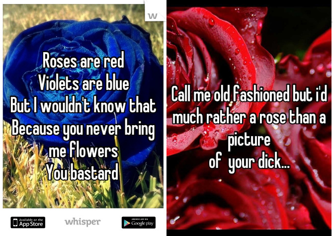 flowers, dick pic, poetry, dating, whisper, secret