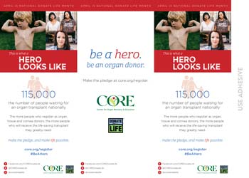 Donate Life Tent Card