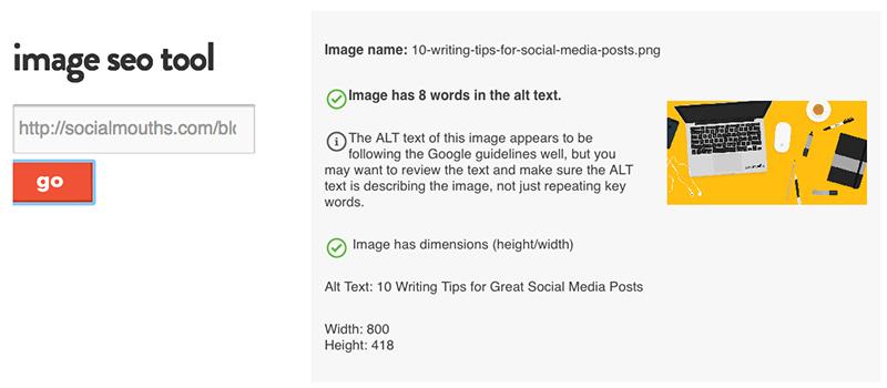 Análisis de optimización de imágenes en una pagina