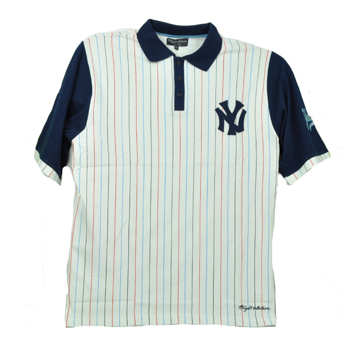 best service 9a4d4 eff98 Details about Wright Ditson New York Yankees Contrasting Striped Polo Shirt  White Navy Mens