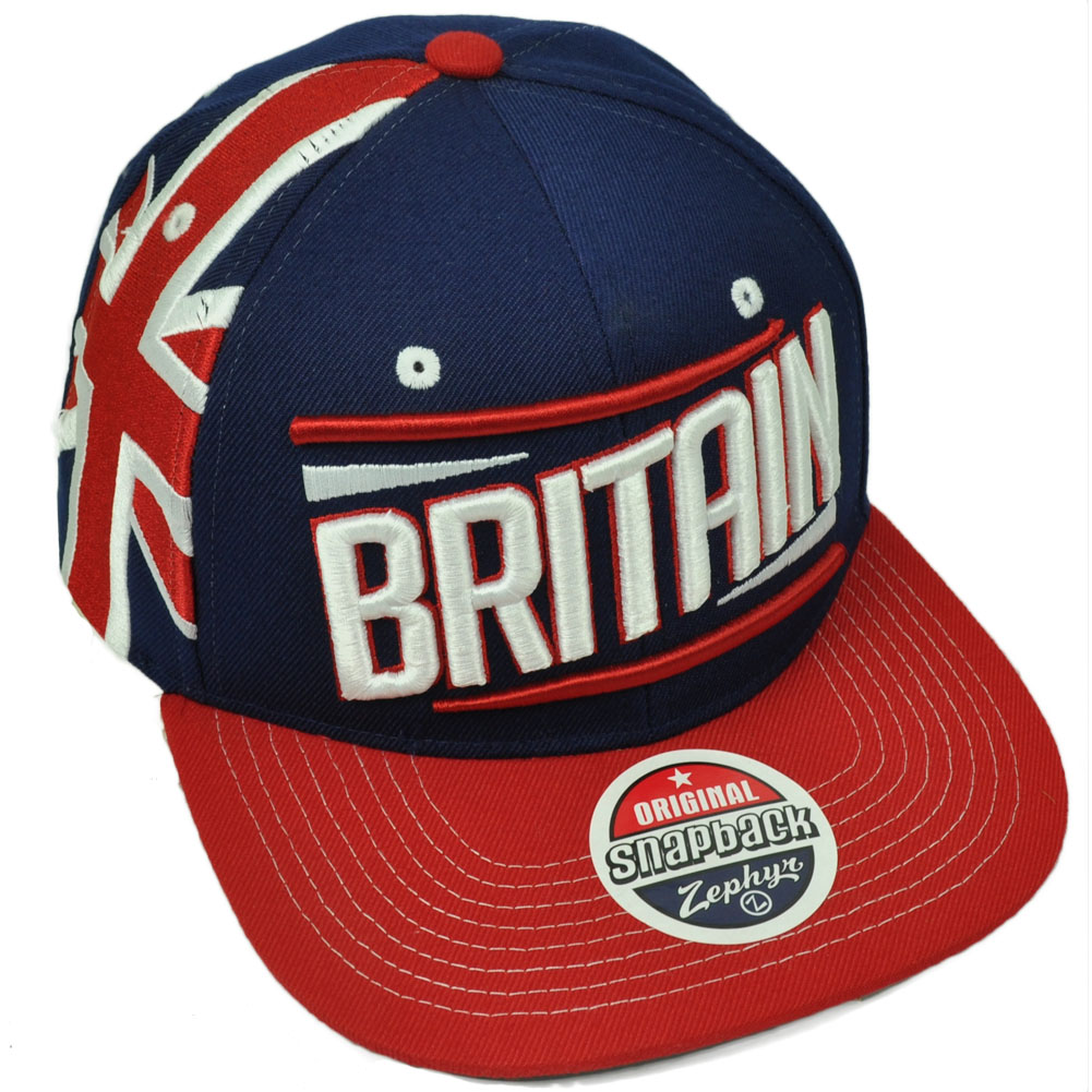Zephyr Victory Britain Country Flag Navy Blue Red Flat Bill Snapback Hat Cap fd1d932cbbcd