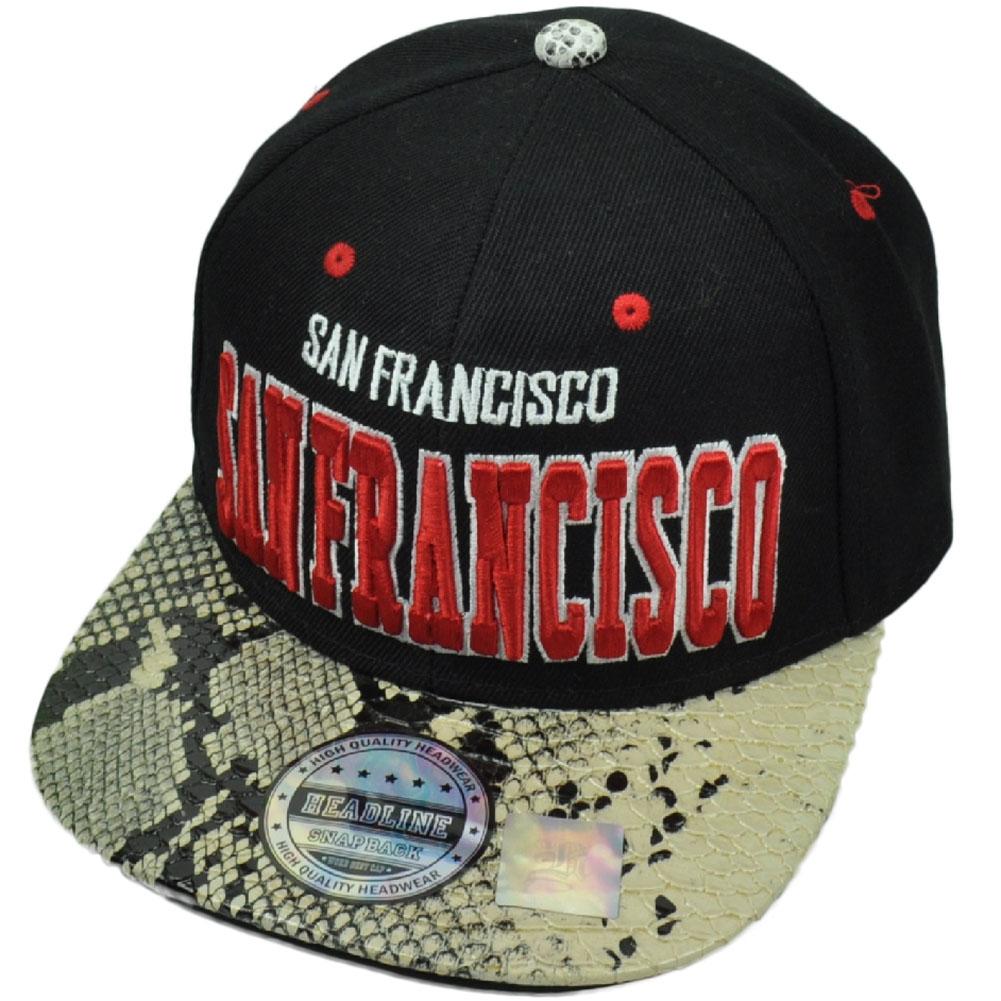 b0f67ae51c5 San Francisco City Town Faux Snake Skin Snapback Flat Bill Hat Cap Black Red