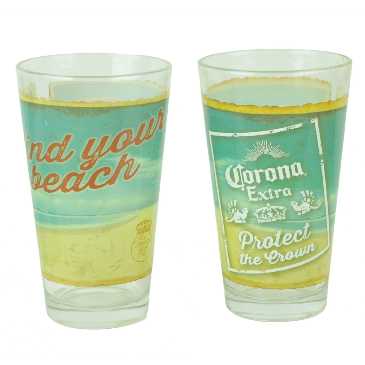 Corona Extra Find Your Beach Pint Glasses Set of 2 16oz ...