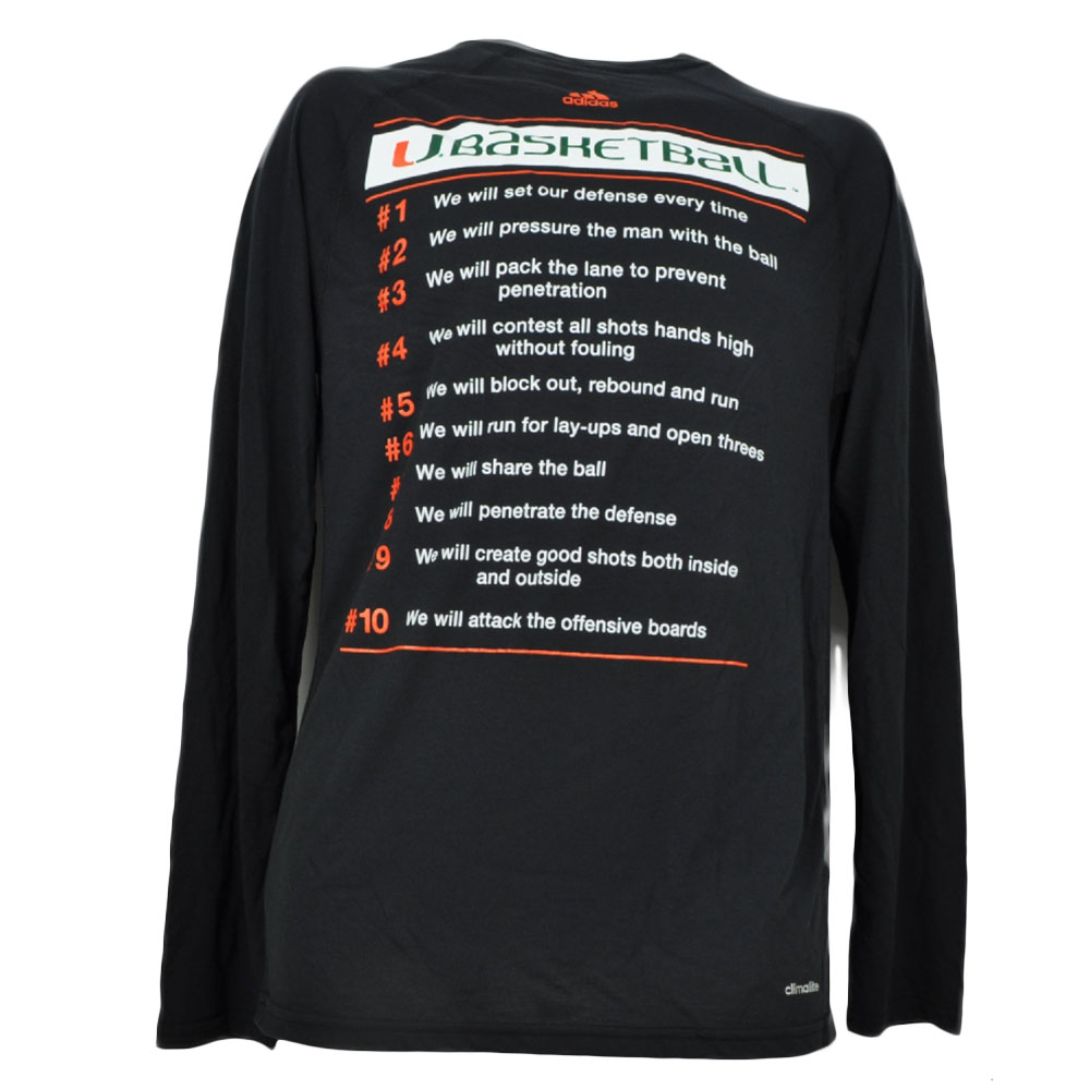 b27b2e2e2c14 NCAA Adidas Miami Hurricanes Canes Basketball Black Long Sleeve Tshirt Tee  Mens