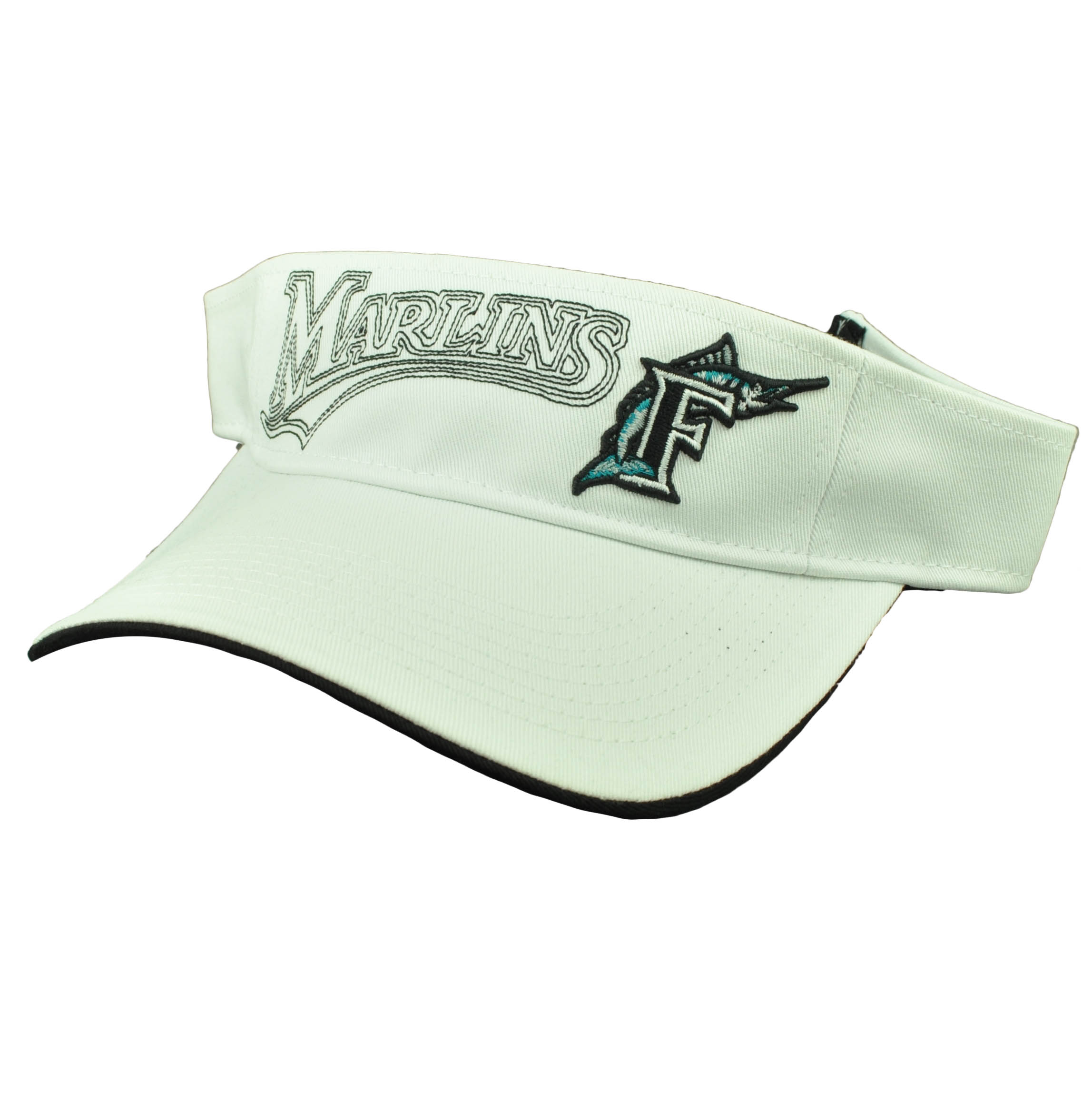 more photos 4508c 7090b Florida Miami Marlins White Visor Sun Hat Baseball Old Logo Vintage  Adjustable