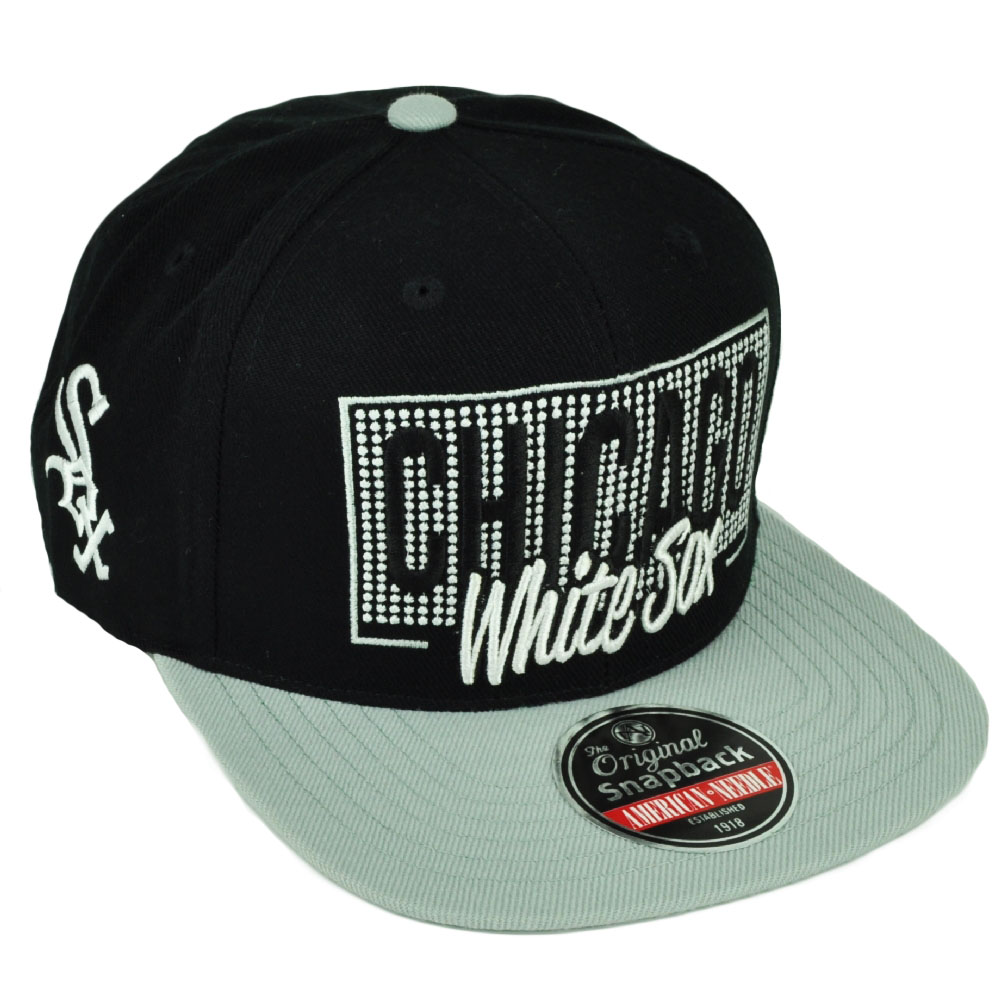 MLB American Needle Chicago White Sox Snapback Flat Bill Hat Cap Black  Sports 5524a9caa9e