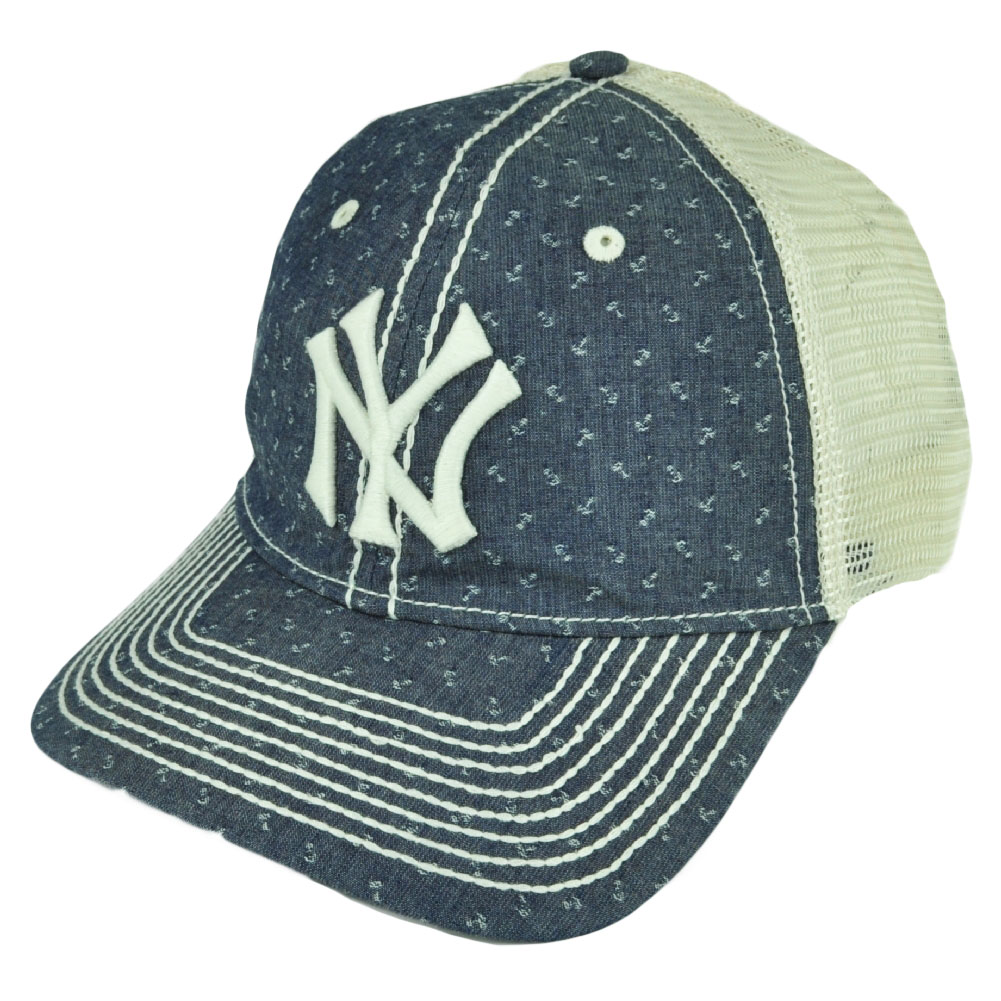 dc2e7c2f04c MLB American Needle New York Yankees Denim Mesh Relaxed Belt Buckle Hat Cap  Blue