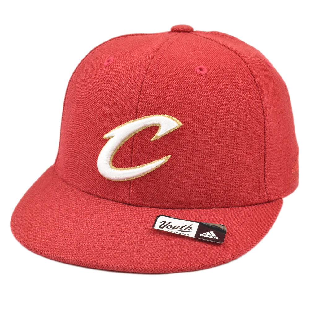 5b3a95259ce NBA Adidas Cleveland Cavaliers Cavs T552P Youth Flat Bill Fitted Hat ...