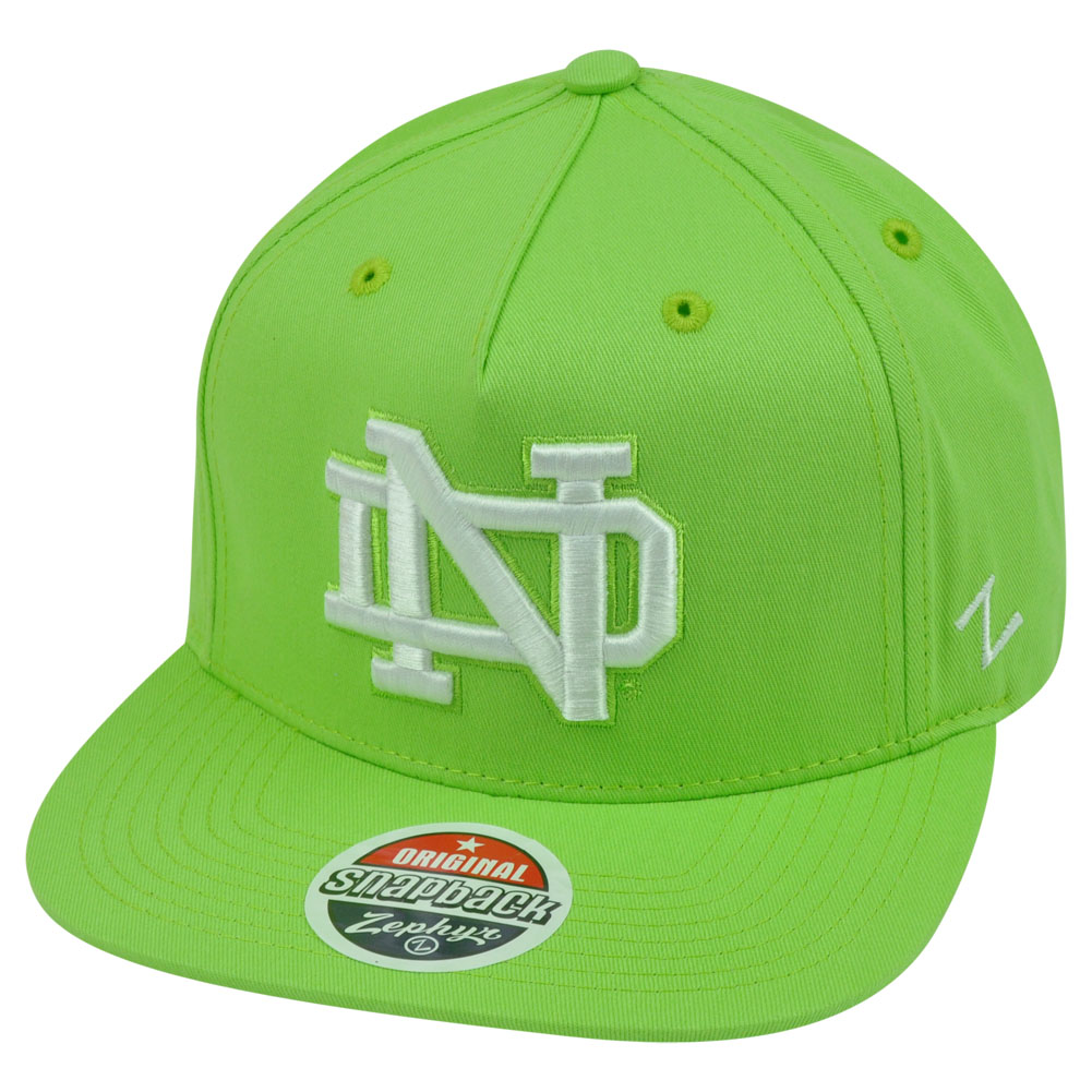 db4e156ee9 Details about NCAA Notre Dame Fighting Irish Popsicle Zephyr Snapback Green  Flat Bill Hat Cap
