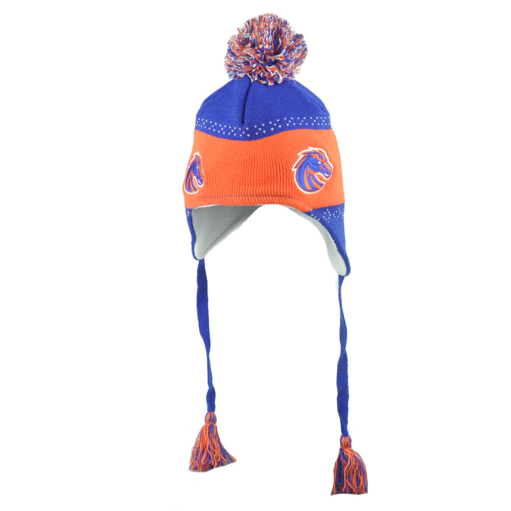 NCAA Boise State Broncos Flap Jack Pom Pom Tassel Ear Flap Knit Beanie Hat  Toque 42a42b42be8