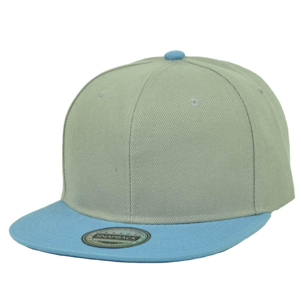 Gray Baby Blue Blank Plain Solid Snapback Flat Bill Hat Cap Headlines  Adjustable 0bae0f56b45