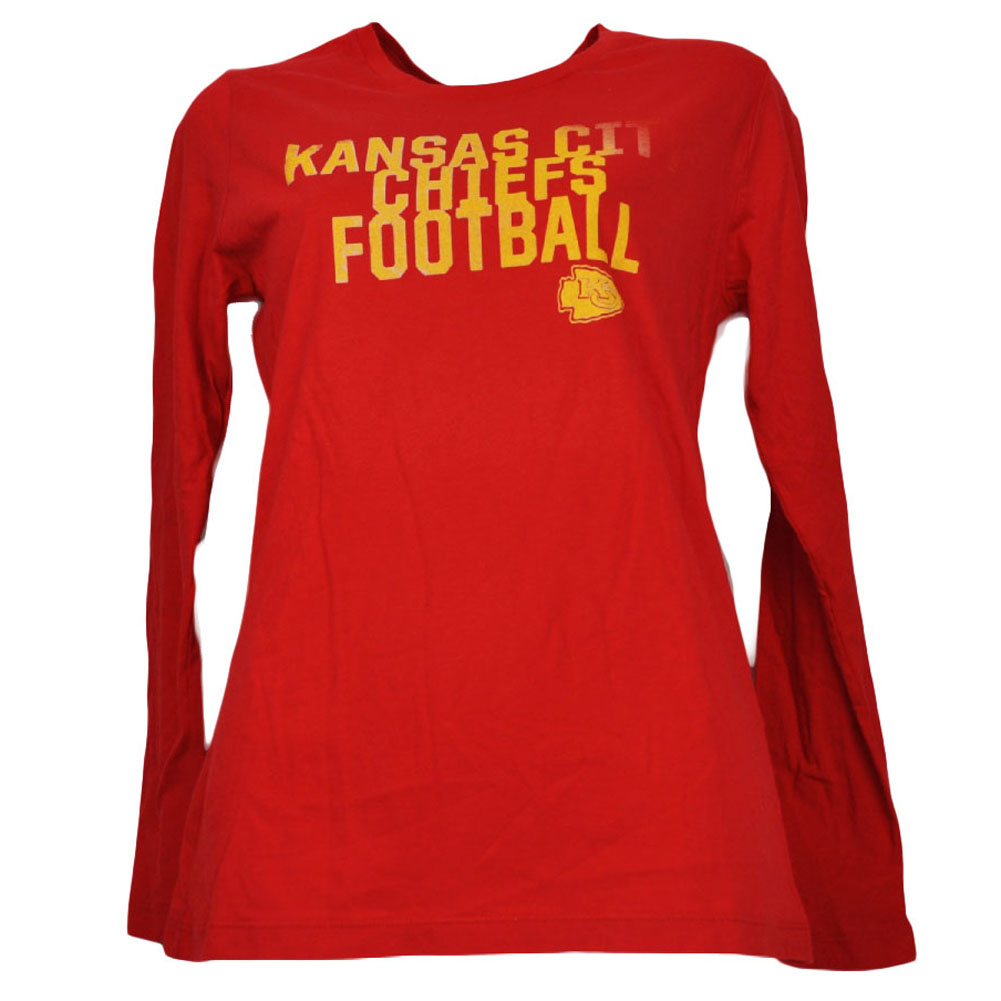 size 40 b8e03 6a560 Details about Kansas City Chiefs Womens Ladies Red Long Sleeve Tshirt  Football Crew Neck