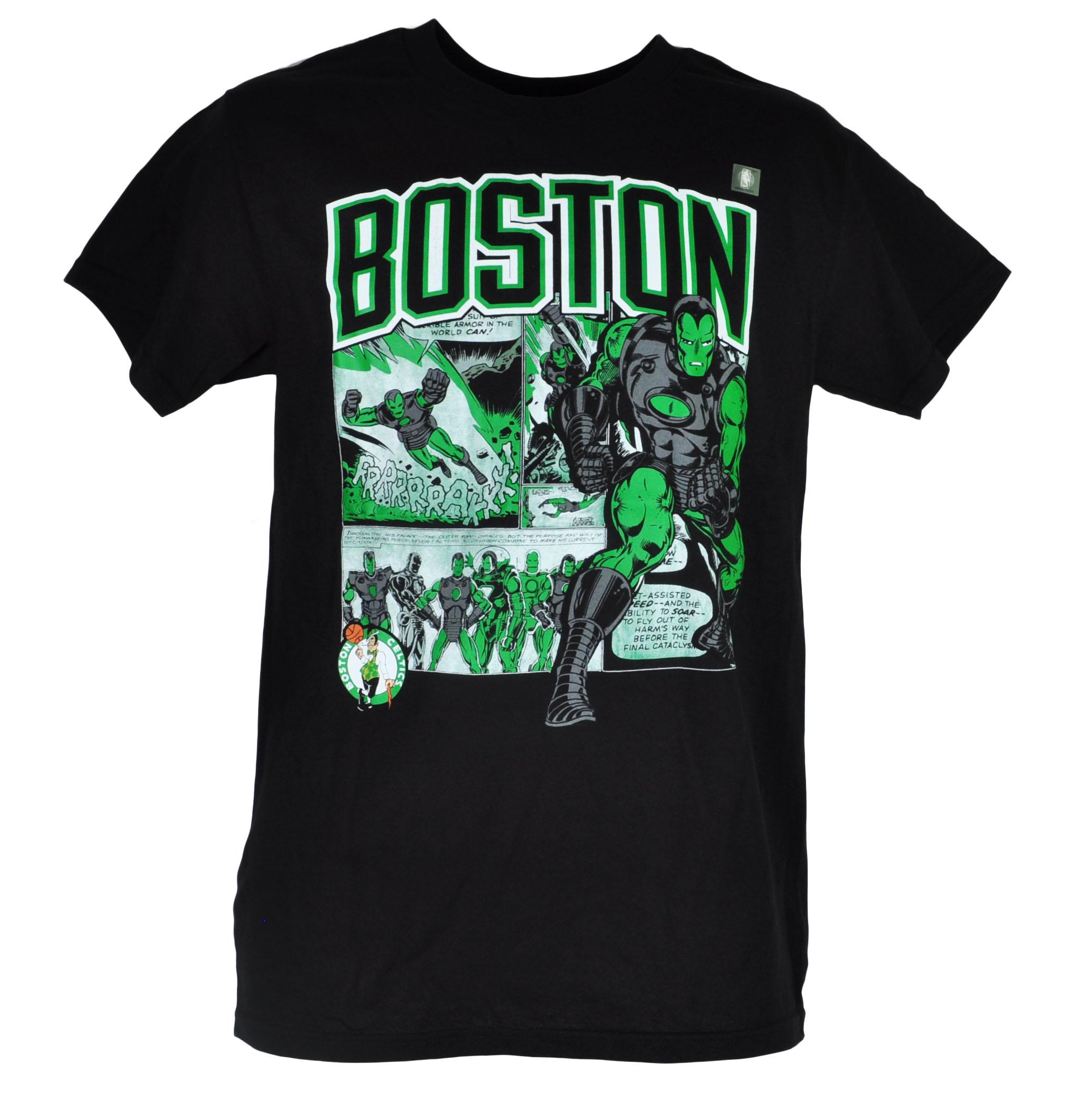 101c13ee705f NBA Marvel Boston Celtics Iron Man Mens Tshirt Tee Crew Neck Short Sleeve  Hero