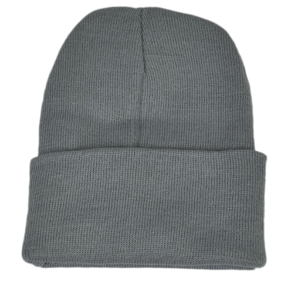 Grey Plain Blank Solid Cuffed Knit Beanie Toque Winter Thick Skully ...